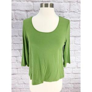 Eileen Fisher Green Scoop Neck Knit Top 3/4 Sleeve